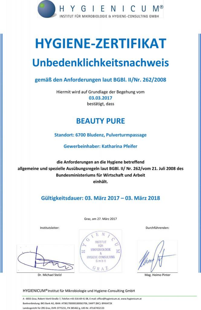 Hygiene Zertifikat 2017